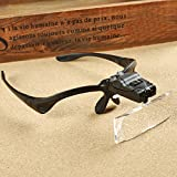Zorpia® 2 Led Lighted Magnifier Jeweler Loupe Head Eyewear Magnifier Magnifying Glass - Professional Jeweler's Lighted Magnifier Visor - 5 Lenses 1.0X 1.5x 2.0x 2.5x 3.5X - Weighs Just 2 oz.