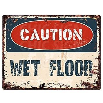 Swell Amazon Com Caution Wet Floor Chic Sign Vintage Retro Rustic Download Free Architecture Designs Scobabritishbridgeorg