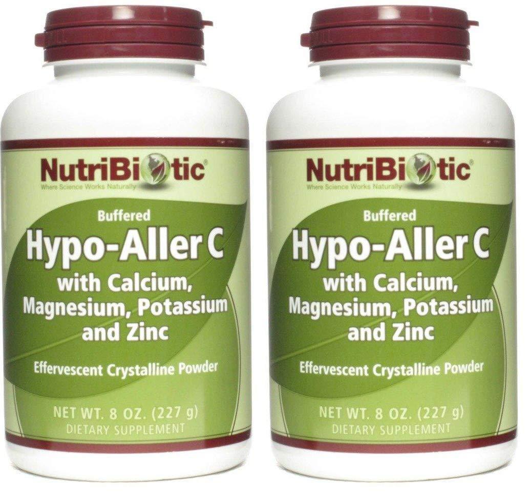 NutriBiotic Hypo Aller-C Effervescent Crystalline Powder with Calcium, Magnesium, Potassium, and Zinc (Pack of 2), 8 Oz Each