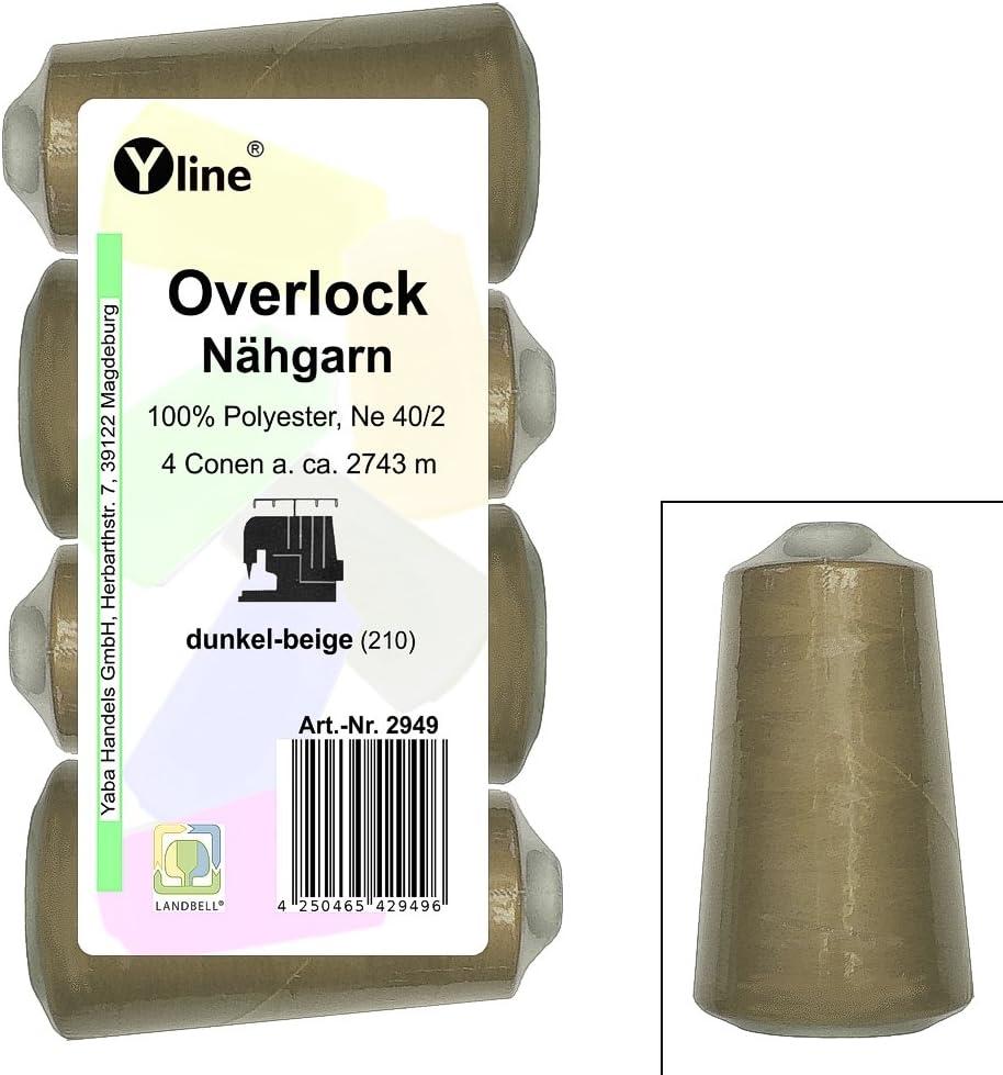 4pieza Bobinas Overlock–Hilo, oscuro–Beige, A. 2743M, Ne 40/2, 100% poliéster, hilo, máquinas de coser hilo, 2949