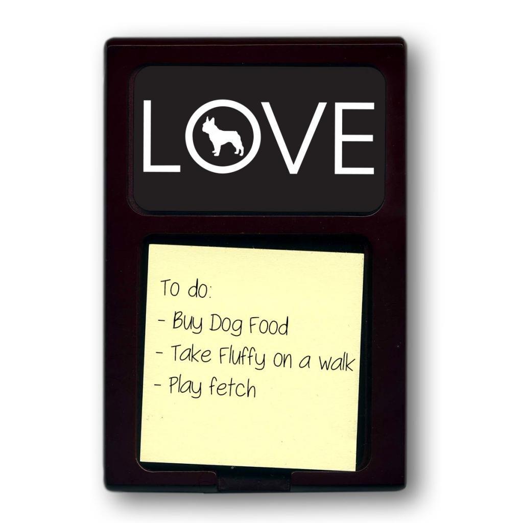 Mahogany Love French Bulldog Sticky Note Holder (Color=Black)