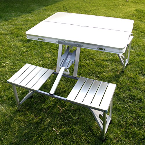 Kinbor Outdoor Aluminum Portable Folding Camping Suitcase Picnic Table Silver Garden BBQ Chairs w/4 Seats