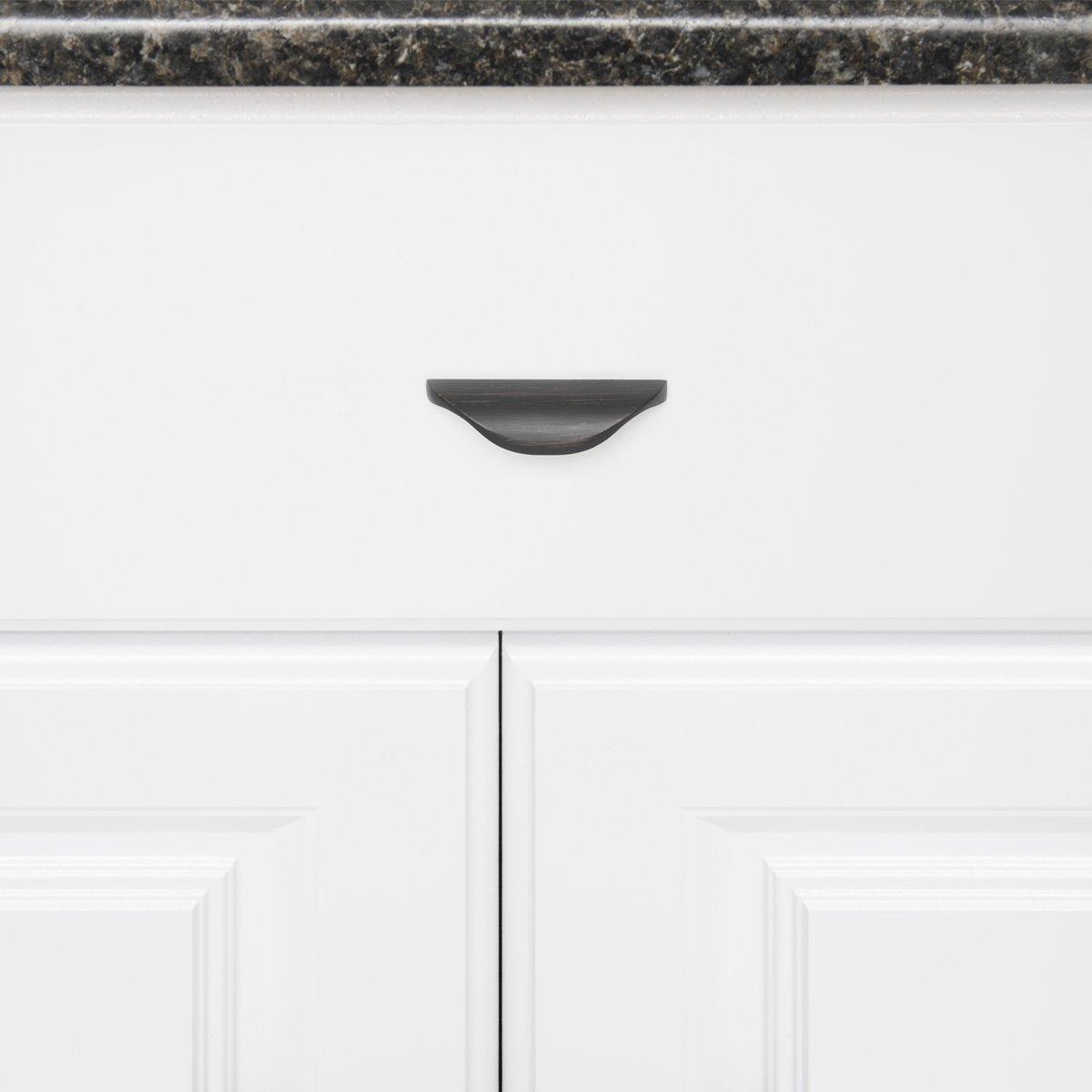 para armario plata envejecida Basics orificio central de 3,2 cm 7,79 cm de longitud paquete de 10 Tirador moderno ondulado