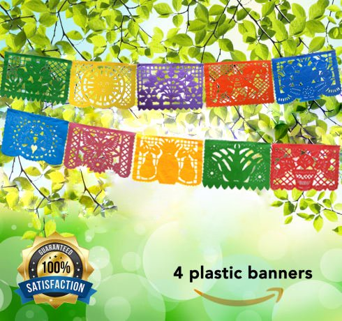 Papel Picado Mexican Banner -Perfect Decoration Día de Muertos Party Fiesta Birthday Celebrations Bachelorette Christmas -64 Feet- Includes 4 Large Banners (16 Feet Long, With 10 Panels each) Handmade