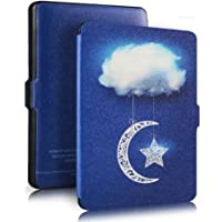 Genuine Leather Protective Cover With Auto Wake Or Sleep For Amazon Kindle Paperwhite (Sky Clouds)