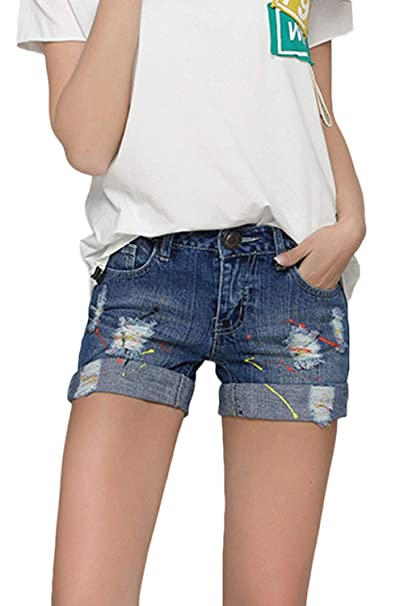 Suvotimo Women Ripped Denim Shorts Casual Doblado Hem Jeans ...