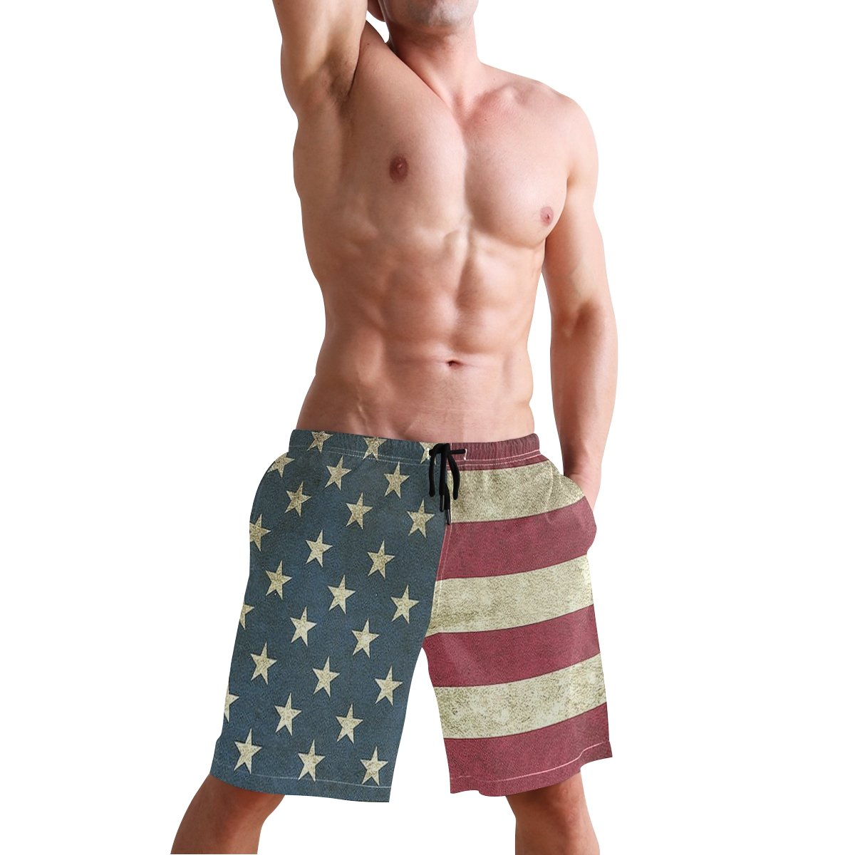 Vintage American Flag Mens Swim Trunks Quick Dry Beach Board Shorts with Drawstring Pocket
