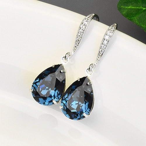 7d7b5f1f69571 Amazon.com: Navy Blue Earrings - Sapphire Swarovski Crystal Bridal ...