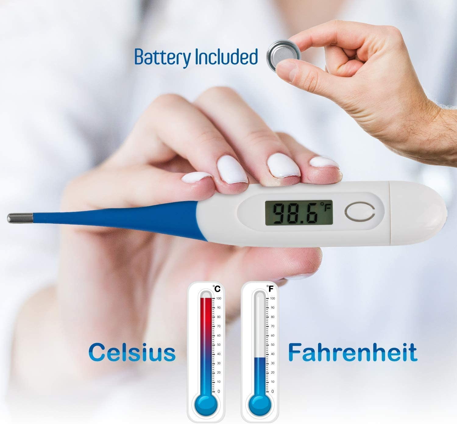Thermometer, Digital Medical Thermometer for Baby Children and Adult Termometro - Fever Thermometer for Fever Accurate and Fast Readings - Oral and Rectal Fever Indicator for Children Adults & Babies: Health & Personal Care
