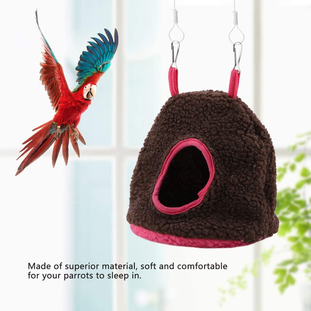 Nannday Bird House, 4 Colores Nidos de Loros Bereber bereber Cálido Hamaca de Felpa Columpio Columpio Cama Cueva para Mascotas Bird Birdhouses Kits de construcción para niños(marrón)