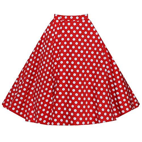 Mujer Vintage Floral Swing Full Circle Casual Falda Corto Retro Vestidos Rojo Punto