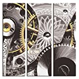 JP London 3 Panels At 16in by 48in Triptych 3 Huge Gallery Wrap Canvas Wall Art Industrial Gear Sprocket Metal Abstract At Overall 4 4 Feet LTCNV2188, Extra Large