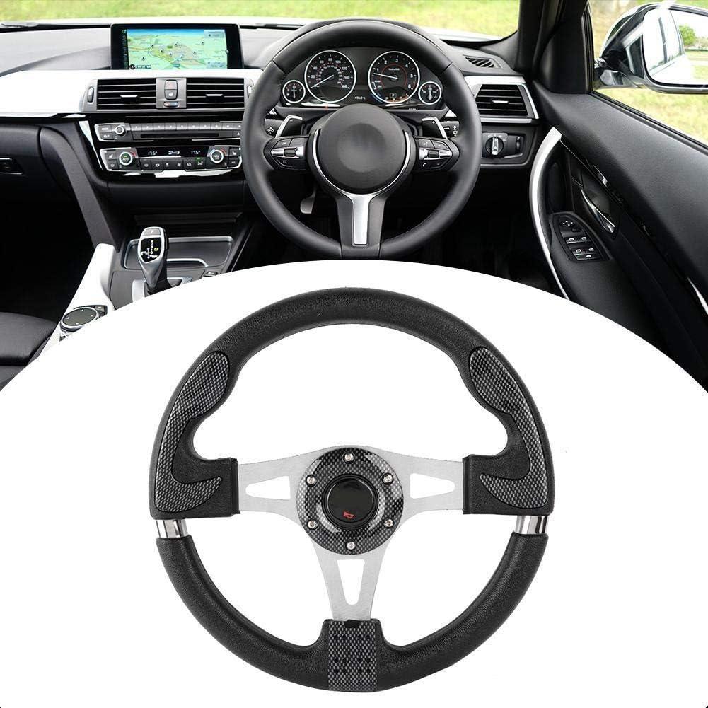 KSTE 13in 320mm Universal PU Leather Car Sport Racing Drift Steering Wheel Black