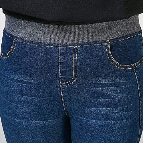 Fit Cintura Super Las Flaco Vaqueros Battercake De Slim Denim Dunkelblau Pantalones Casuales Alta Suave Elásticos Mujeres 0wqOxRt