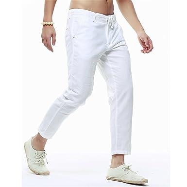 a94b490db21 Welcometoo Linen Pants Men Ankle-Length Pants Summer Thin Casual Solid Linen  Men Loose Pants