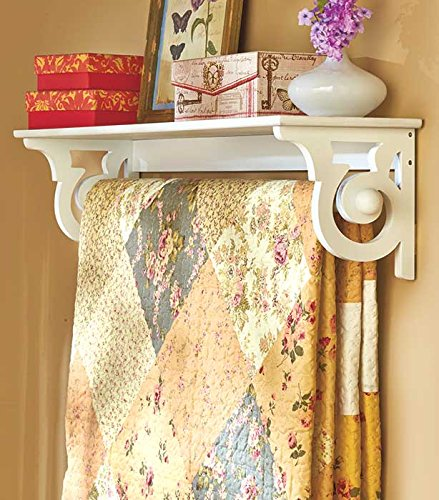 Quilt Wall Hanging - Scrolled Side Wall Shelf with Quilt Hanger