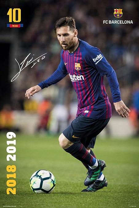 bb6c7124c Amazon.com: FC Barcelona - Soccer/Sports Poster/Print (Lionel Messi in  Action - Season 2018/2019) (Size: 24