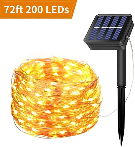 Solar String Light 200 LED Outdoor String Lights 8 Lighting Modes Changing IP65 Waterproof Solar Light Decorative for Patio Lawn,Garden,Chrismas,Courtyard Party warm white