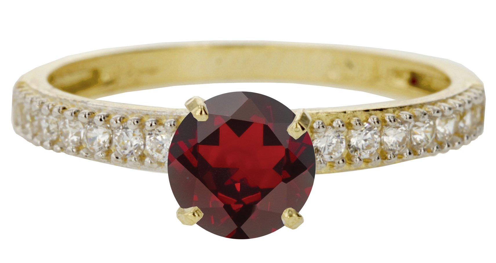 14k Yellow Gold Faceted Natural Genuine Red Garnet Round Engagement Band Wedding Ring Size 8.5
