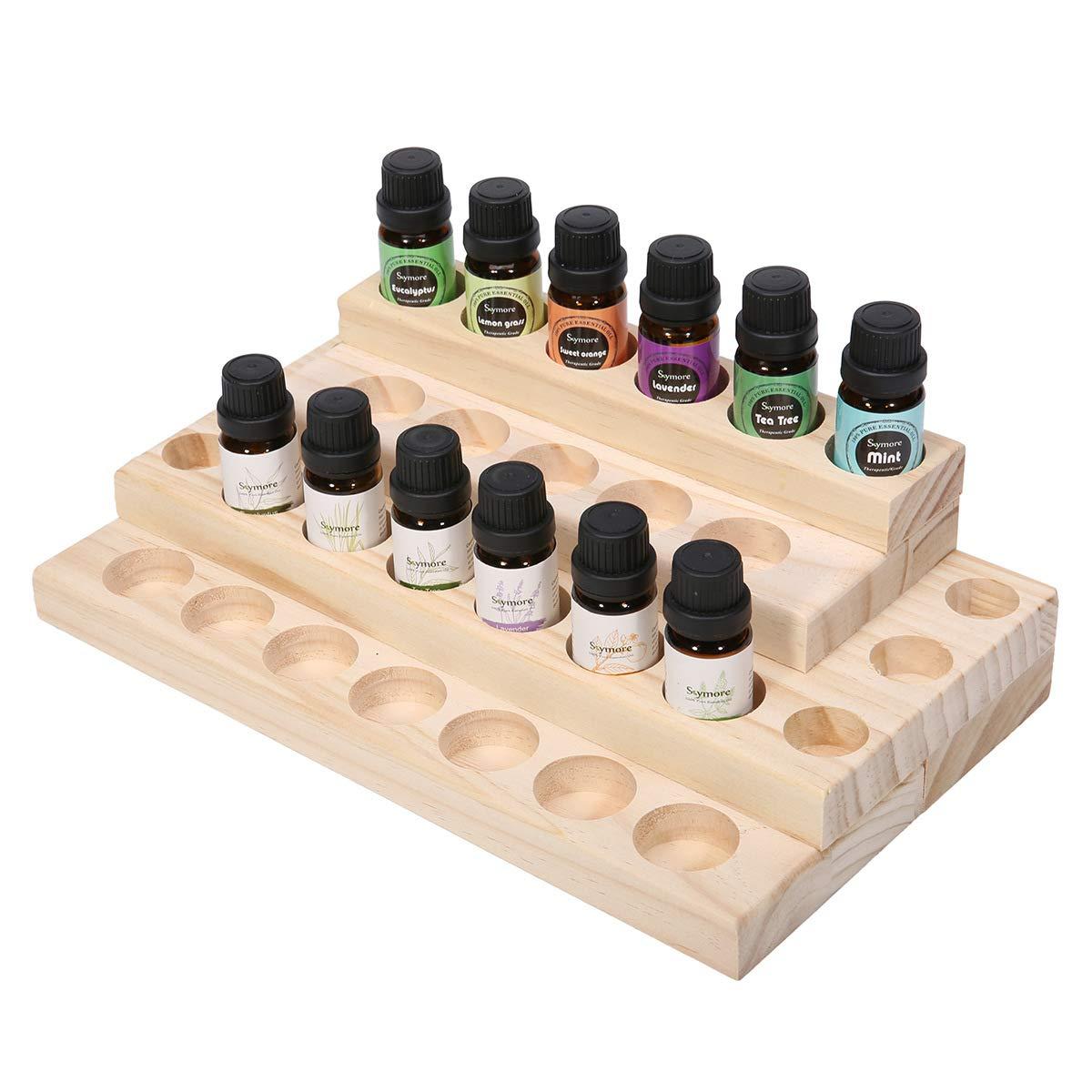 VolksRose 4-Tier Wooden Essential Oil Display Storage Organizer Rack Stand, Cosmetic Organizer Rack - Holder for 30 Pieces (5ml 10ml 15ml 20ml) Bottles #ob08