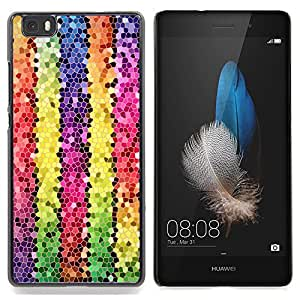 Eason Shop / Premium SLIM PC / Aliminium Casa Carcasa Funda Case Bandera Cover - Líneas Polígono Electrónico 3D colorido - For Huawei Ascend P8 Lite (Not for Normal P8)