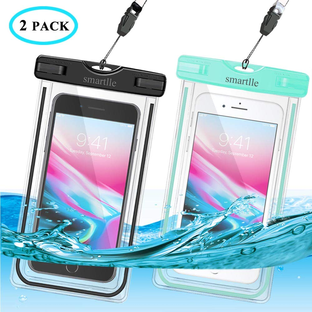 """smartlle Waterproof Phone Case, IPX8 Cellphone Dry Pouch Bag for Apple iPhone Xs XR XS MAX,X,8,7,6 Plus, SE,Samsung S9+ S9 S8+ LG V20 HTC,6.0"""", Snowproof Dirtproof Outdoor Sports, Fluorescent-2 Pack"""