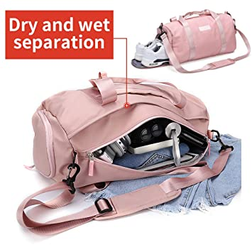 4c4f733e28 Gym bag for women, workout duffel bag shoe compartment, sports gym bags  with wet pocket and shoe compartment, Pink