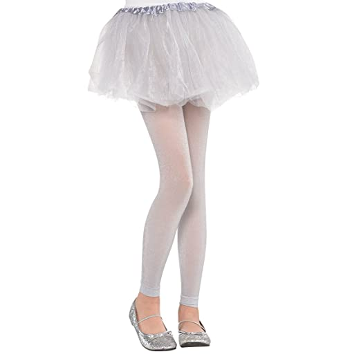 57e58f2fcd581 Amazon.com: Amscan 395705.18 Silver Footless Tights, One Size ...