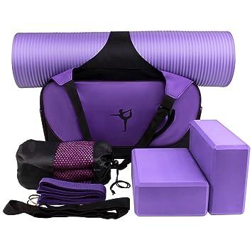 XGUO Kit de Yoga Accesorios para Yoga Juego Incluyen Estera de Yoga, Toallas de Yoga, 2 Bloques de la Yoga, Yoga Bandas de Resistencia Yoga Set para ...