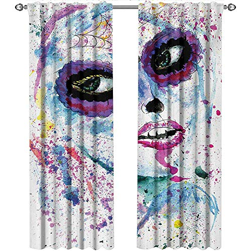 Returiy Girls, Curtains Thermal Insulated, Grunge Halloween Lady with Sugar Skull Make Up Creepy Dead Face Gothic Woman Artsy, Curtains for Kitchen Windows, W72 x L108 Inch, Blue Purple ()