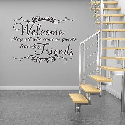 Adesivi Per Muri Interni.Anmain Welcome Friend Adesivi Murali Semplice Sticker Da Muro Lettera Adesivo Per Pareti Moderno Wall Stickers Decorazioni Interni Frasi Adesive