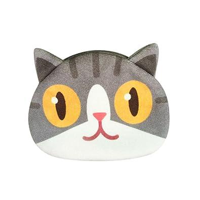 df04185b3a95 erthome Women Cute Mini Animals Print Cat Face Girl Plush Coin Purse Change Purse  Bag Wallet