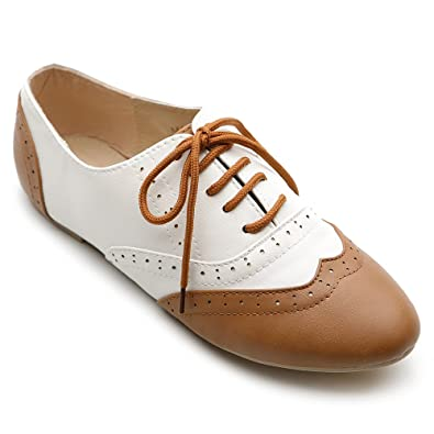 43d135ecd41a9 Ollio Women's Shoe Classic Lace Up Dress Low Flat Heel Oxford: Amazon.ca:  Shoes & Handbags