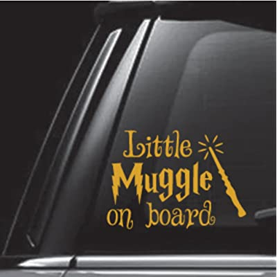 egeek amz Little Muggle On Board Gold Car Decal Vinyl Decal Sticker for Car Truck Vehicle Window: Clothing