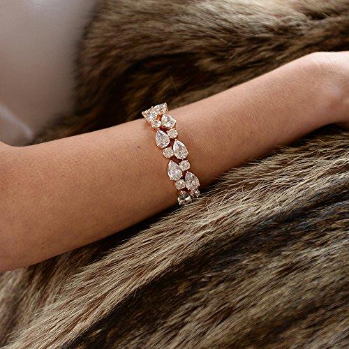 Mariell Magnifique Or rose Petite Longueur 61/5,1cm Designer de mariage Bracelet avec Bold Oxyde de Zirconium mosaïque