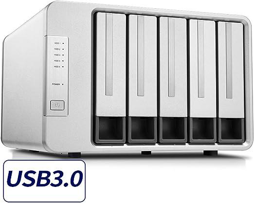 TerraMaster D5-300 USB3.0/2.0 RAID HDD ケース (HDD5台用) USB Type C 2.5/3.5インチ HDD 5ドライブモデル RAID0/RAID1/RAID5/RAID10 対応 (HDD付属なし)