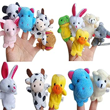 6X Cartoon Finger Puppets Cloth Plush Doll Baby Hand Animal Educational Toy