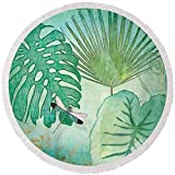 Pixels Round Beach Towel With Tassels featuring ''Rainforest Tropical - Philodendron Elephant Ear And Palm Leaves W Botanical Dragonfly 2'' by Audrey Jeanne Roberts