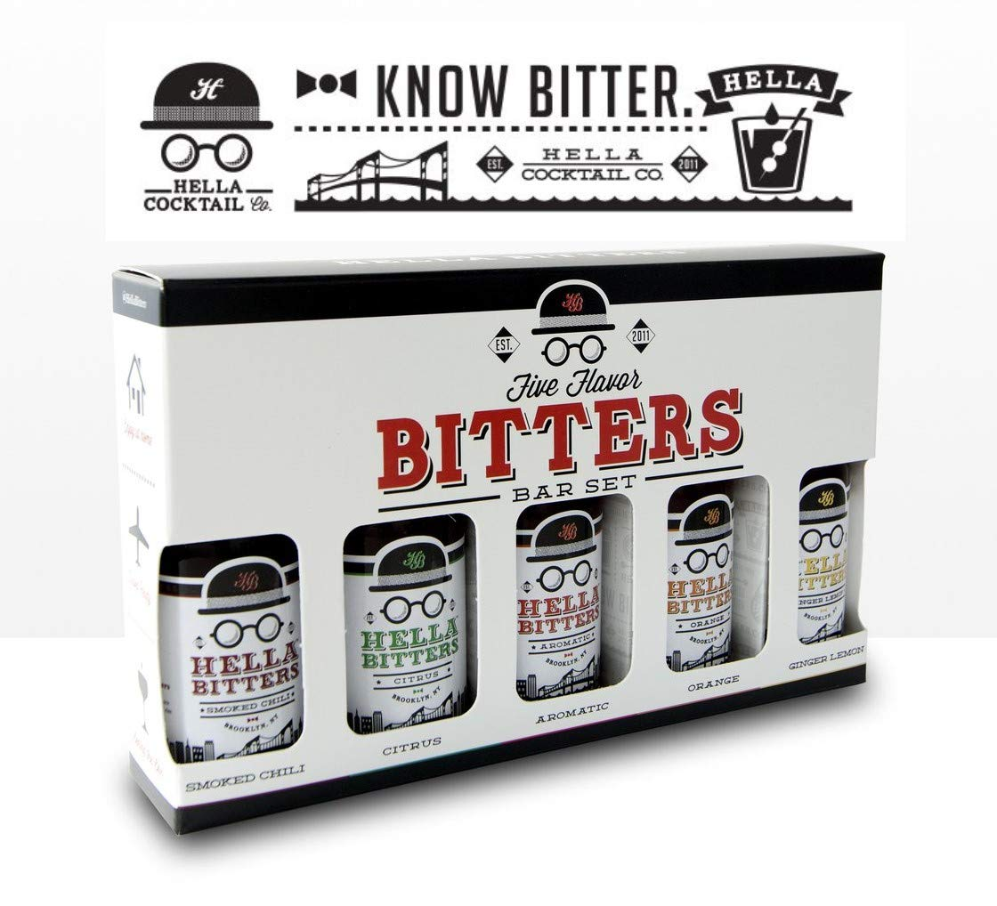 Hella Cocktail Co. | 5 Pack Bitters bar Set, 8.5 oz total | Craft Aromatic, Orange, Ginger, Citrus, Smoked Chili Cocktail Bitters made with Real Fruit Peel & Whole Spices - For the Homebar by Hella Cocktail Co. (Image #2)
