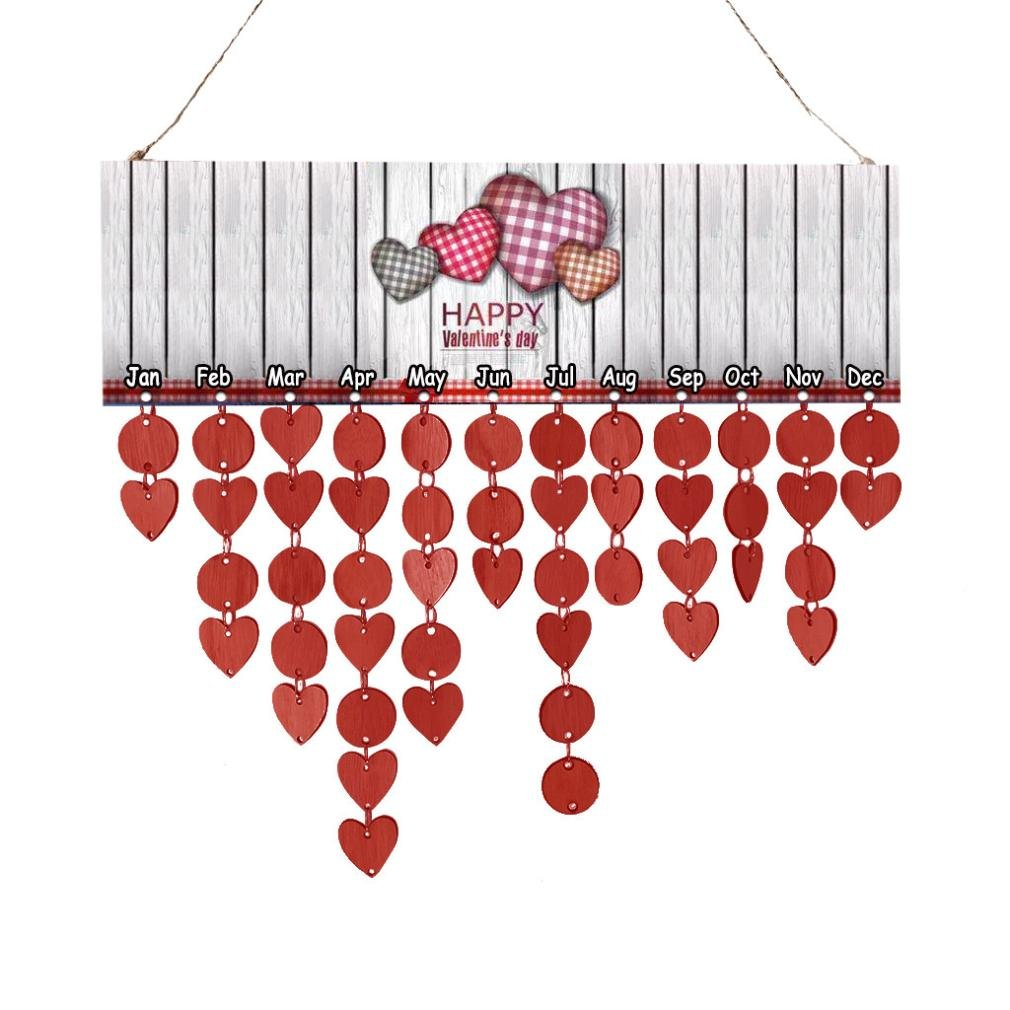 Gessppo Wood Birthday Reminder Board Birch Ply Plaque Sign Valentine's day Gifts for Her or Her (Red)