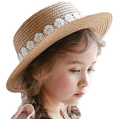 034c824e884 Westeng Sun Hat Girls Beach Straw Hat Summer Sun Protection Wide Brim Cap  Travel Casual Flower Decoration  Amazon.co.uk  Clothing