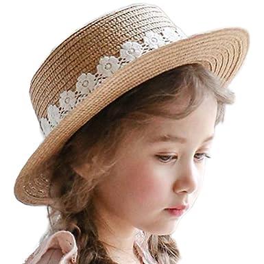 Westeng Sun Hat Girls Beach Straw Hat Summer Sun Protection Wide Brim Cap  Travel Casual Flower eaba121914da
