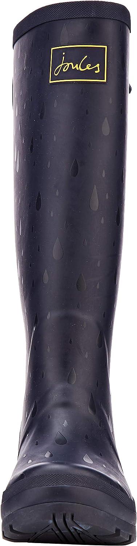 Joules Women's Wellyprint Wellington Boots Blue Navy Raindrops Navrndrps