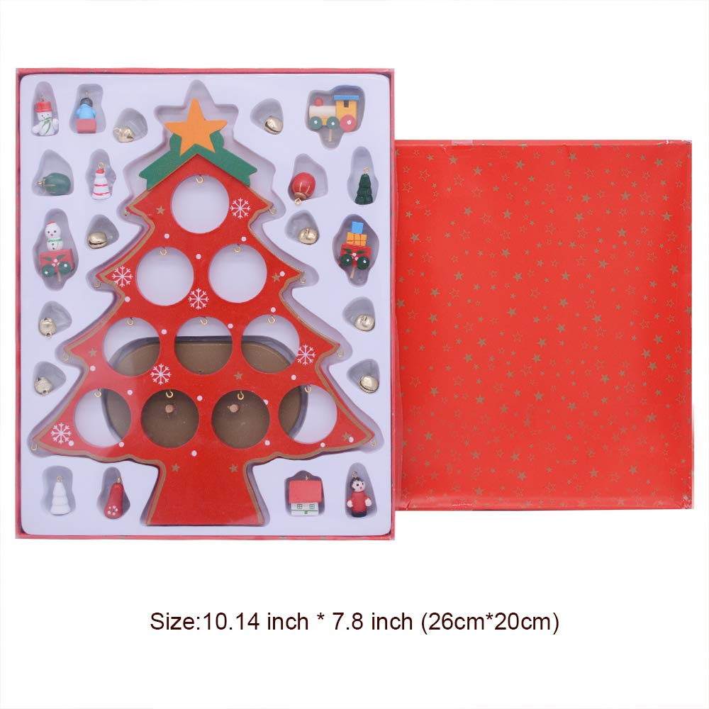 Xmas Decoration 10.5 inches Red Gift Hunter SD-0004 Ornaments Wooden Mini Christmas Tree