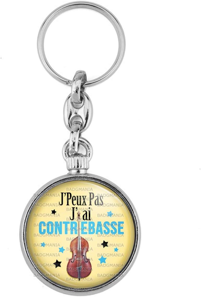 Porte-Cl/és M/étal JPeux Pas JAi Contrebasse Instrument Musique Humour Excuse Alibi Id/ée Cadeau