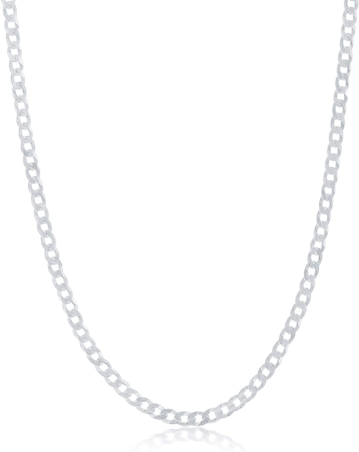 NYC Sterling Chain Necklace 3MM Sterling Silver .925 Curb Link For Men And Women, Made In Italy