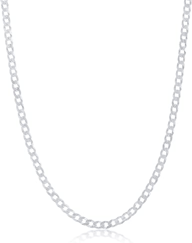 """22/"""" REAL Solid 925 Sterling Silver Italian Curb Chain Necklace 3 mm Men Jewelry"""