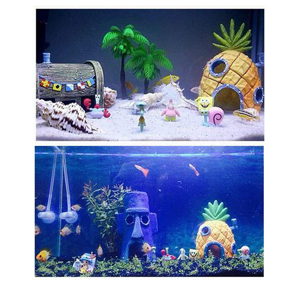 easy-cozy Spongebob Squidward Fish Tank Decorations - Fun Spongebob Aquarium Decorations Kid Aquarium Decor Ornament 11 Pcs Set, Aquarium Fish Tank Decor by easy-cozy