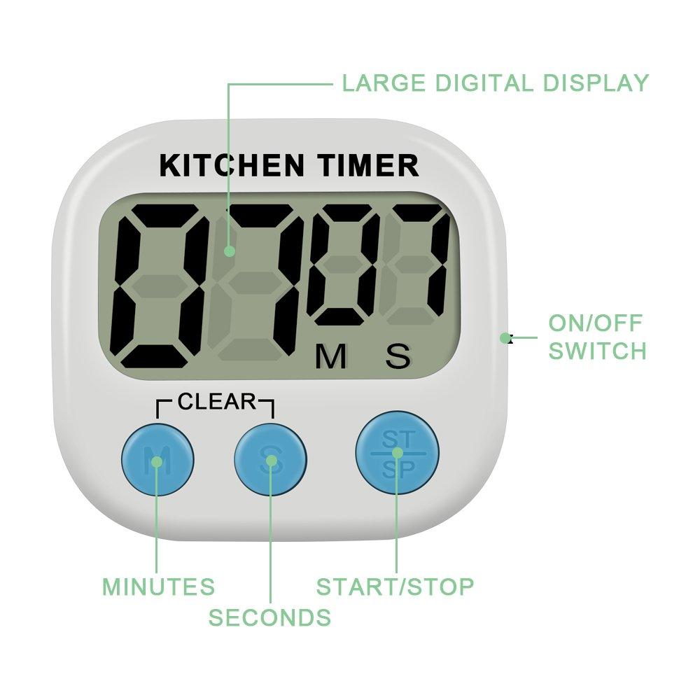 Amazon.com: IEKA Digital Kitchen Timer, Minute Second Count Up ...