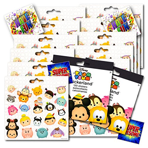 Stickers Character Kids - Disney Tsum Tsum Stickers Party Favors Pack - 12 Sheets of Tsum Tsum Stickers Bundled With 4 Separately Licensed GWW Prize Reward Stickers
